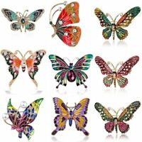 Fashion Crystal Enamel Butterfly Insect Brooch Pin Breastpin Women Party Jewelry