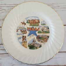 "Sheffield Bone White Texas Souvenir Plate Collector 10"" Alamo Cotton Bowl"
