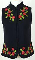 Designers Originals Christmas Sweater Vest Ugly Size S Black Poinsettias Women