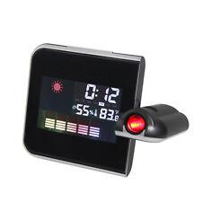Digital LED Projection Alarm Clock Weather Station Calendar Snooze Black + Grey
