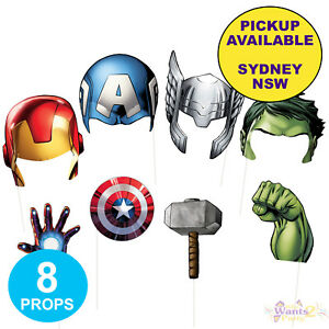 AVENGERS PARTY SUPPLIES 8 PHOTO BOOTH PROPS SUPERHERO SCENE SETTER DECORATIONS