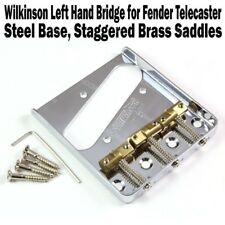 Wilkinson Lefty Chrome Telecaster Bridge Brass Saddles Tele Left Hand WTBCR LH