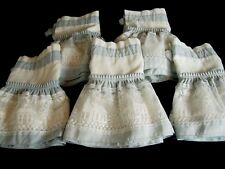 """Lot of 5 Country Style Lace Valances Houses, Churches Blue /White 52 x 12.5"""""""
