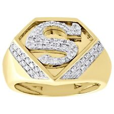 """10K Yellow Gold Over Diamond Superman Logo Shield """"S"""" Initial Pinky Ring 0.65 CT"""