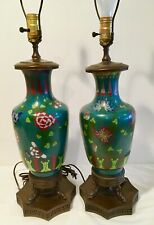 "Pair Vintage Cloisonne Bronze Lamps Dolphin Bases Teal Floral 32"" Japan Chinese"