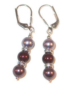 MAUVE MAROON BURGUNDY Pearl Earrings Swarovski Crystal Elements Sterling Silver