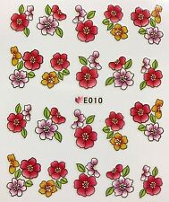 Nail Art 3D Decal Stickers Purple & Dark Pink Flowers E010