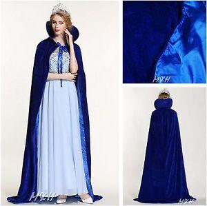 "71"" Full Length Velvet Satin Cloak Cape High Collar Coat Pageant Party -Sea Blue"