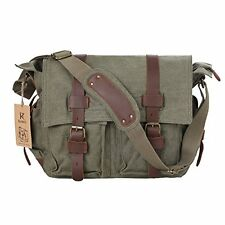 Kattee British Style Retro Canvas & Leather Messenger/ Laptop Bag- Light Green