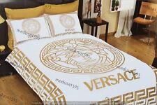 Versace Bedding Set Bedroom Duvet Cover Sheet Pillowcases Queen Satin White Gold