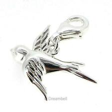 Sterling Silver Peace Flying Dove / Swallow Bird European Lobster Clip On Charm