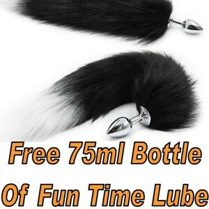 Sex Toy Anal Plug Faux Fur  Fox Tail Butt Plug For Fetish Role Play & 75ml Lube