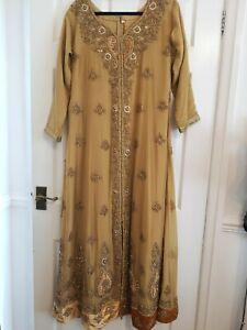 pakistani Indian party wedding long dress gown Size (44)  XL 3 Piece gold
