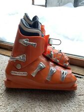 New listing Vtg Le Trappeur France Olympic Seal Metal Clasp Orange Leather Ski Boots Rare 38