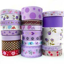 "20 Yards Heart Grosgrain Ribbon Lots 3/8""--1.5"" Assorted 20 Styles Purple Theme"