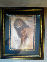 Home Interiors lion framed wall picture jungle animal theme decor Homco