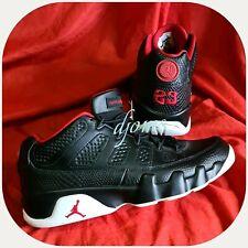 Sz 9 Mens Nike Air Jordan 9 Low Bred Snakeskin Black Red Leather Sneakers Shoes