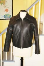EUC GREEN FIELDS Private Label Quality Leather Motorcycle Jacket Black S