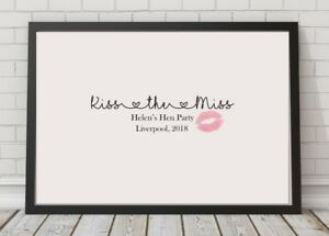 Kiss the Miss Goodbye Personalised Hen Party A4 Poster Print Bride Keepsake