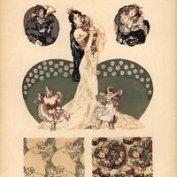 Puchinger dancing women jester Carnival c.1910-20 Art Nouveau German old print