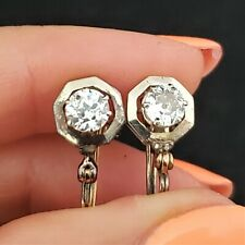Antique Old European Cut Diamond 14k Gold Stud Earrings Estate Early 1900s Gift