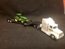 1/64th Ertl Truck and Flatbed Trailer with   John Deere Tractor