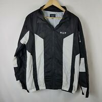 Huf Mens Windbreaker Jacket Size L Large Zip Through Lightweight Black White