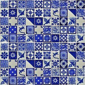 """100 MEXICAN TALAVERA  TILE 2x2""""  FOLK ART BLUE & WHITE DESIGNS HANDPAINTED"""