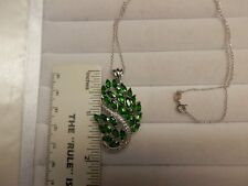 Russian Chrome Diopside Sterling Silver Pendant with Chain