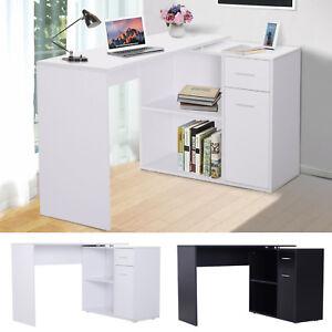 360° Rotating Corner Computer Desk L-Shaped Table Storage Shelf Drawer Combo