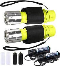 New listing HECLOUD Diving Flashlight Scuba Dive Light Torch IPX8 Waterproof Snorkeling...