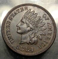 Nice Almost uncirculated+ AU+ brown 1884 bronze indian head cent 1C penny coin