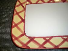 HARTSTONE POTTERY STONEWARE SCARLET PLAID SERVING TRAY PLATE  12 3/8''