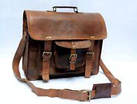GVB Large Real Bull Leather Vintage Messenger Shoulder Laptop Bag Briefcase