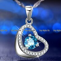 XMAS GIFTS FOR HER - Aquamarine & Crystal Silver Heart Necklace Women Gifts K9