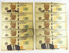 10 Pcs Gold Plated Trump 1,000 dollar Banknotes Fine Gift Crafts Collection New