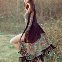 Women's Long Sleeve Floral Tassel Cardigan Kimono Chiffon Jacket Blouse