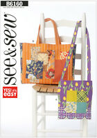 Butterick 6160 Easy See & Sew Pattern to MAKE Tote Bags in Two Sizes
