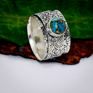 Gorgeous Blue Copper Turquoise  Gemstone 925 Sterling Silver Spinner Ring