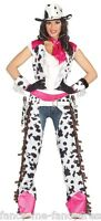 Ladies Sexy White Pink Cowgirl Chaps Wild West Fancy Dress Costume Outfit 14-18