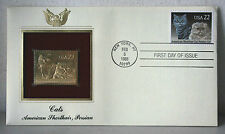 First Day of Issue Cats American Shorthair Persian 22kt Gold Replica Stamp #50