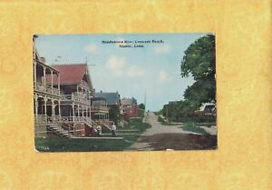 CT Niantic Crescent Beach 1918 vintage postcard MIDDLETOWN ROW OF HOMES CONN