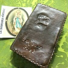 BELGIUM 1930s CHRISTIAN MISSAL~ HANDTOOLED LEATHER BOOK COVER ~DATED 1938~ RARE