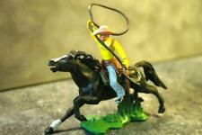 BRITAINS HERALD SWOPPET WW Wild West Mounted Cowboy w Lasso Yellow Top