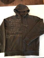 Rusty Mens M Full Zip Stitched Graphic Sweatshirt Hoodie Jacket Brown TS9