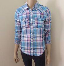 Hollister Womens Plaid Shirt Size XS Button Down Top Blouse Sky Blue