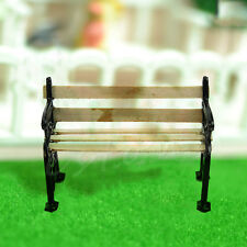 Dolls House Miniature Garden Furniture Accessories Wooden Bench Metal 1:12 New