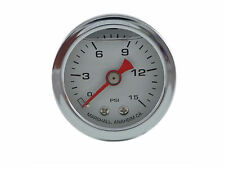Liquid Filled Oil Pressure Gauge 0-15 psi - WHITE face -Harley Davidson