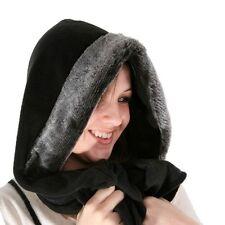 NEW WOMENS LADIES BLACK FLEECE FAUX FUR HOOD SCARF SCARVES SKI HAT ONE SIZE