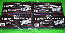 100 LARGE BILL CURRENCY TOPLOADERS, RIGID, HOLDS 7-9/16 X 3-1/4 CURRENCY / NOTES